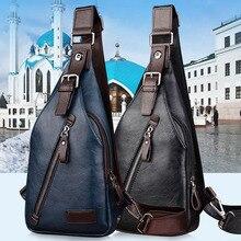Hot Retro cremallera bolsas famosa marca de diseñador de los hombres de pecho hombre bolsa de viaje bolsa de hombre de moda de alta calidad de cuero de la vendimia crossbody bolsa