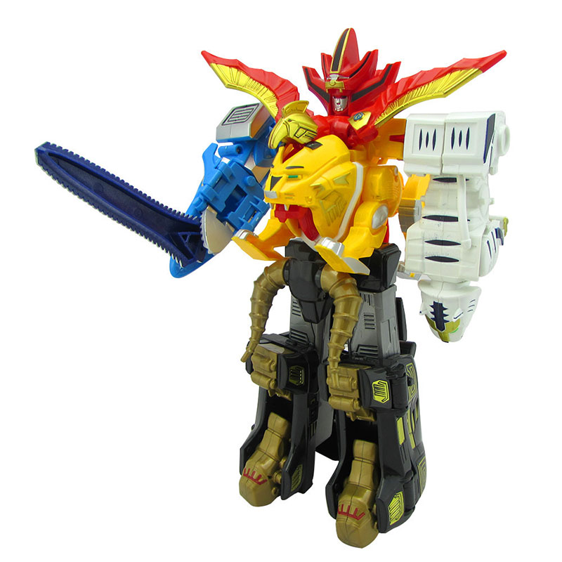 5 In 1 Assembly Toys Transformation Robot Dinosaur Rangers Megazord Action Figures Kids Christmas Gifts abbyfrank 5 in 1 transformation car assembly action figure toys truck plastic engineering vehicles robot christmas toy for kids