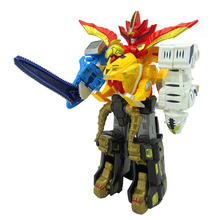 5 In 1 Assembly Toys Transformation Robot Dinosaur Rangers Megazord Action Figures Kids Christmas Gifts