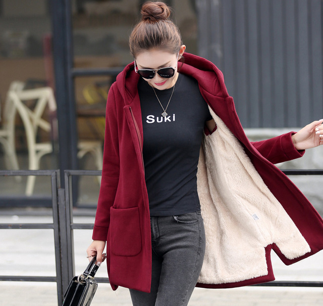 Autumn Winter Women's Fleece Jacket Coats Female Long Hooded Coats Outerwear Warm Thick Female Red Slim Fit Hoodies Jackets 37