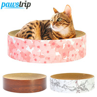 pawstrip Cat Scratch Board Cat Scratching Sofa Couch Lounge Round Corrugated Cardboard Cat Bed Scratcher Toys For Cats 38.5*10cm