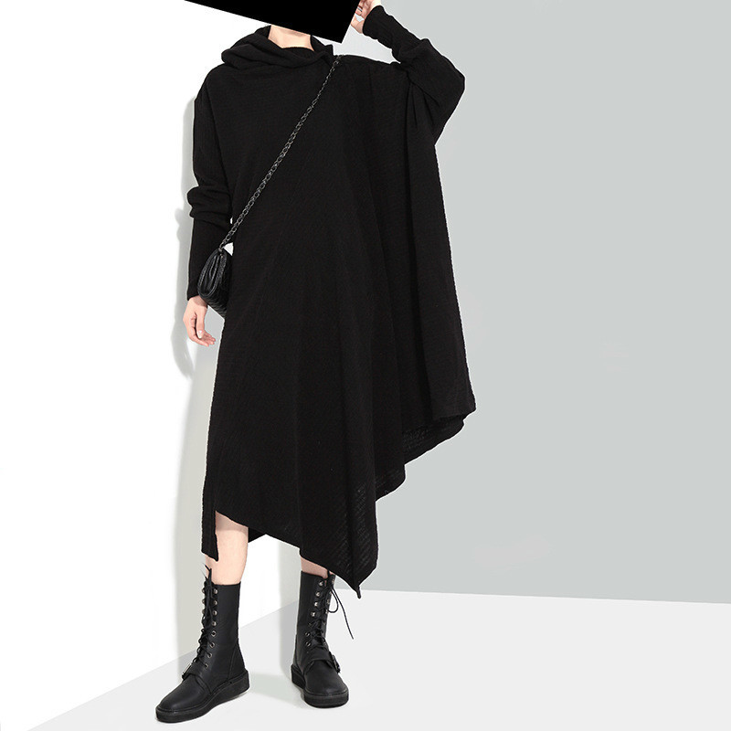 New 2018 Women's Autumn Winter Dresses Irregular High Lead Long Solid Knitting Plus Size Loose Spliced Lady Cotton Dress 1803