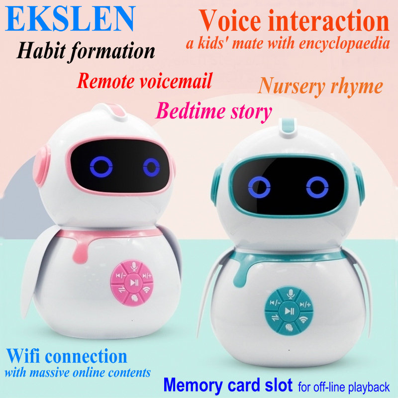 EKSLEN Intelligent Robot Early Education Machine Smart Children AI Voice Interaction Robot Wifi Toy Baby Learning Story Machine(China)