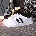 El más nuevo Clásico Todo Blanco Unisex Zapatos Calzado Casual Top del Alto de Los Hombres Zapatos Para Caminar Transpirable Sneake Skater Tamaño 36-44