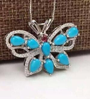 Verde turquesa natural colgante s925 Natural Colgante de piedras preciosas Collar de moda gran mariposa de lujo joyería de las mujeres