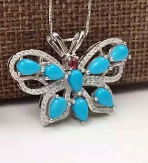 natural green turquoise pendant S925 silver Natural gemstone Pendant Necklace trendy big luxurious butterfly women jewelry vintage faux turquoise leaf pendant necklace for women