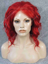 Free Shipping 14 3100 150 Density Heat Resistant Fiber Red Lace Front Fashion Ladies Curly Wig
