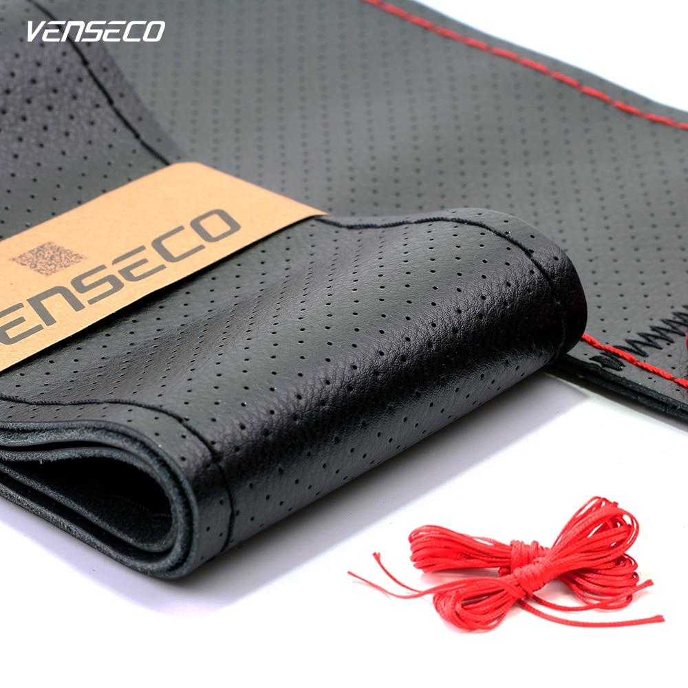La cubierta del volante de cuero genuino VENSECO, suave y resistente al desgaste del cuero, tiene orificios de ventilación del volante universal