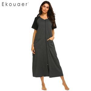 Image 2 - Ekouaer Dài Sleepshirts Váy Ngủ Nữ Cổ Tròn Ngắn Tay Kẻ Sọc Phối Túi Dây Kéo Bắp Chân Dài Rời Váy Ngủ Mùa Hè Váy Ngủ