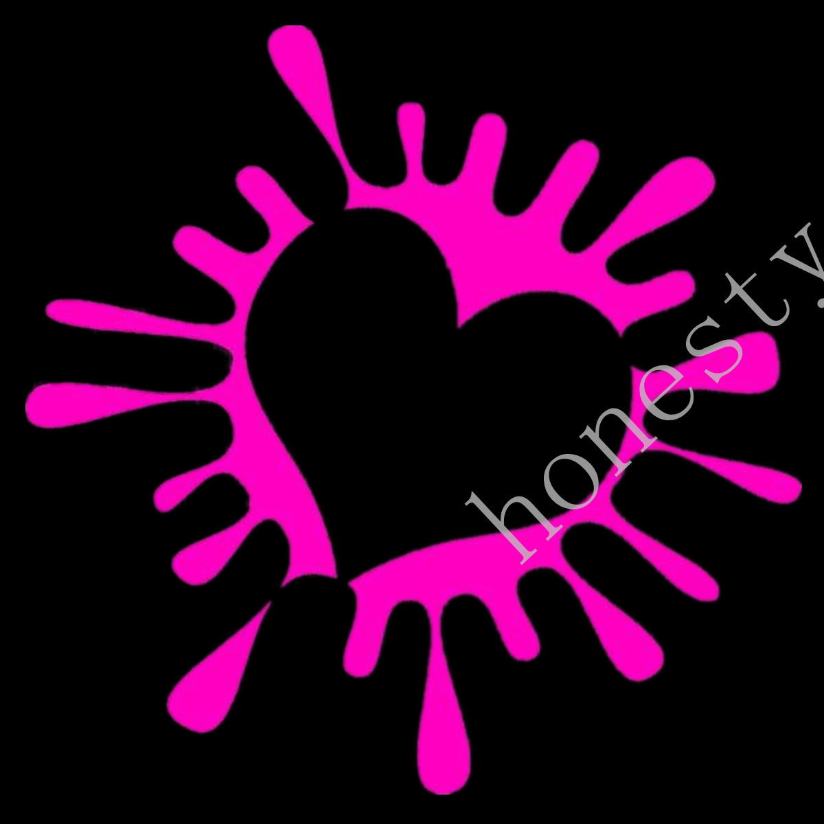 Heart sticker decal paint splat for girls car window wall cute girly love white pink red