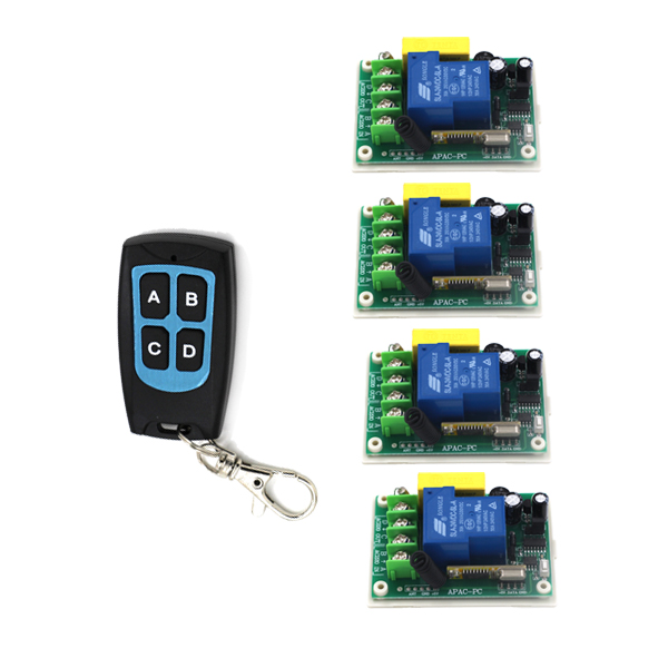 AC 220V 30A 1CH RF Wireless Remote Control Switch System,1 X Transmitter + 4X Receiver,315/433MHZ SKU: 5517 ac 220 v 1 ch wireless remote control switch system 4x transmitter with 2 buttons 1 x receiver light lamp ledon off 315 433mhz