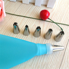 1x Length Silicone Icing Piping Cream Pastry Bag + 6x Stainless Steel Nozzle Set Cake Decorating Tool Baking Pastry Tips Tools