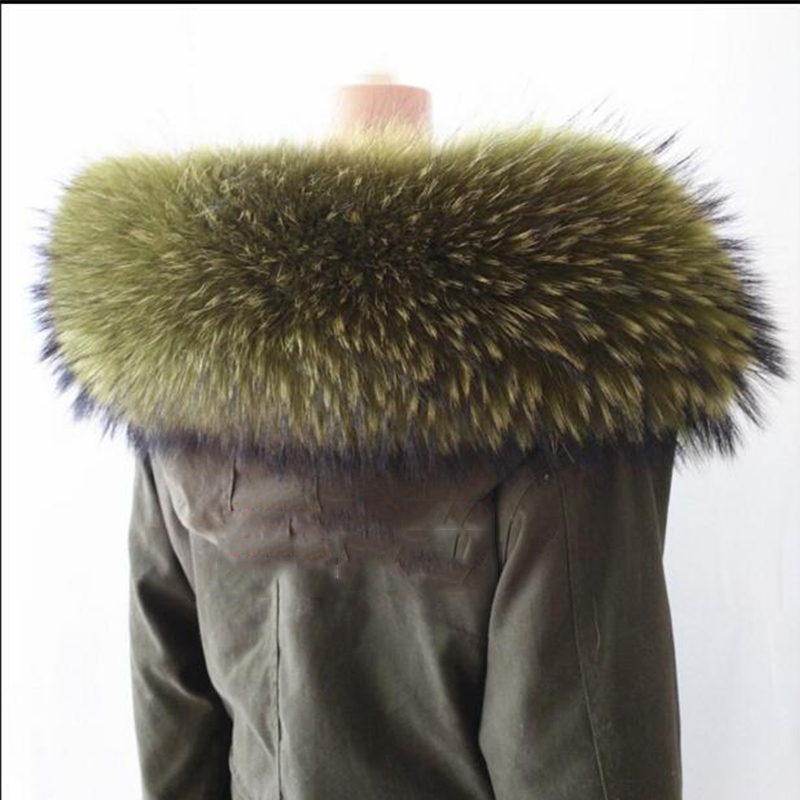 2017Real Raccoon Fur Collar Winter Women Natural Raccoon Fur Scarf for Coat Hat Warm Fur Collar Straight Design Lady Long Collar