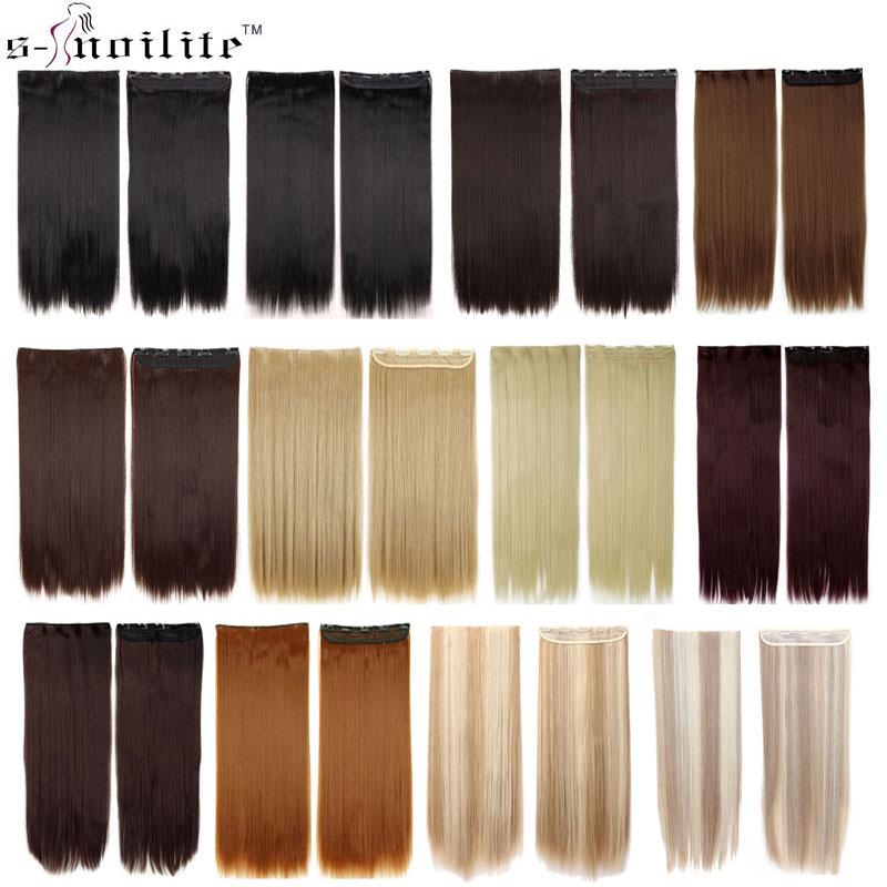 SNOILITE 23/26/30 אינץ ארוך ישר נשים קליפ ב תוספות שיער שחור חום סינטטי קליפ אחד חתיכה קליפ תוספות פאה