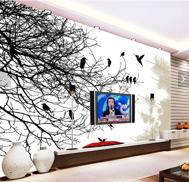 Custom papel DE parede infantil.Black and white tree branches for the living room bedroom TV background wall vinyl wallpaper custom 3d wallpaper flower murals for the living room bedroom tv background wall vinyl papel de parede
