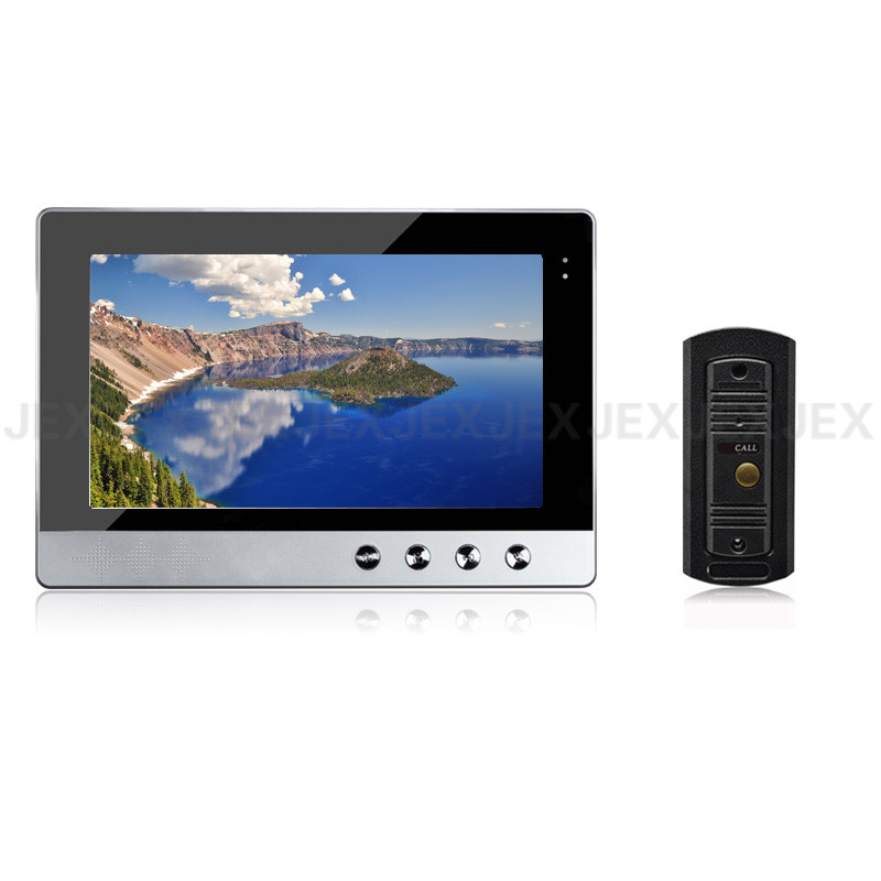 JEX 10 Inch Color LCD Screen Video Doorphone Doorbell Speaker Intercom System Kit 1 Monitor +metal Mini IR COMS Camera