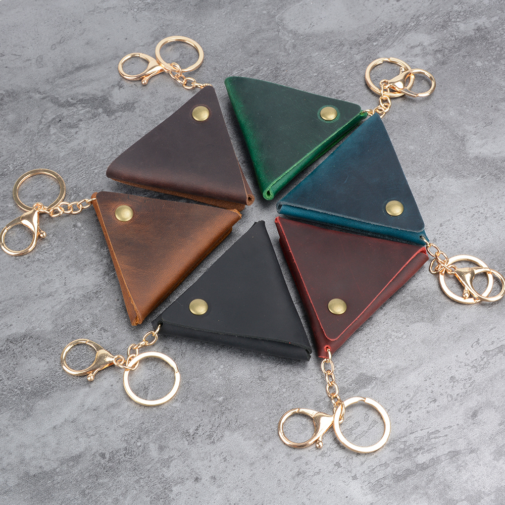 High-end Leather Coin Purse With Key Ring Simple Triangle Hasp Coin Holder Handmade Practical Cowhide Leather Small Bag