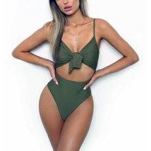 2019 Sexy One Piece Swimsuit Push Up Swimwear Women Knotted Bodysuit High Cut Monokini High Waist Bathing Suit Female Beachwear недорго, оригинальная цена