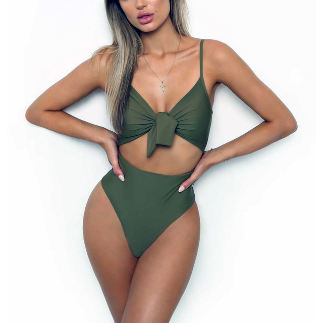 6a87f87ea79c5 2019 Sexy Push Up Swimwear Women One Piece Swimsuit Knotted Bodysuit High  Cut Monokini High Waist Bathing Suit Female Beachwear