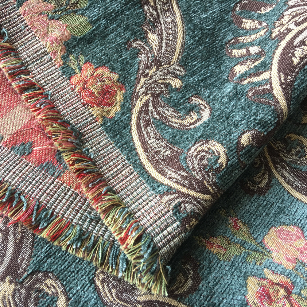 Deluxe Dark Green Flower Thick Polyester Rayon Chenille Floral