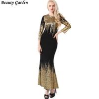 Beauty Garden New Women Sexy Club Long Dress Fashion Elegant Slim O Neck Winter Dress Vintage
