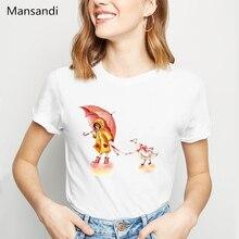 Girl with her duck lion panda print t shirt women vogue funny tshirts femme hrajuku kawaii clothes female t-shirt tops