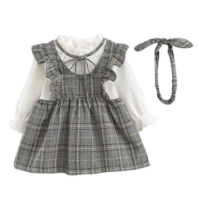 Infantil Baby Girl Dress Baby Long Sleeve Autumn Tutu Party Dress Plaid  Preppy Style 2018 Infantil 7306e6e2bc3e