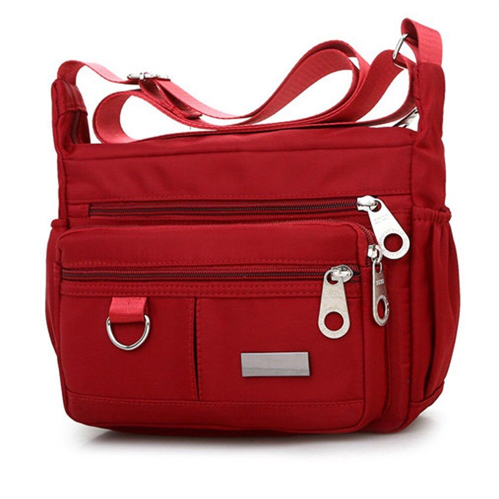 Women Fashion Solid Color Zipper Waterproof Nylon Shoulder Bag Crossbody Bag Bolsa Feminina Dropship  New 2019 Hot Selling#45