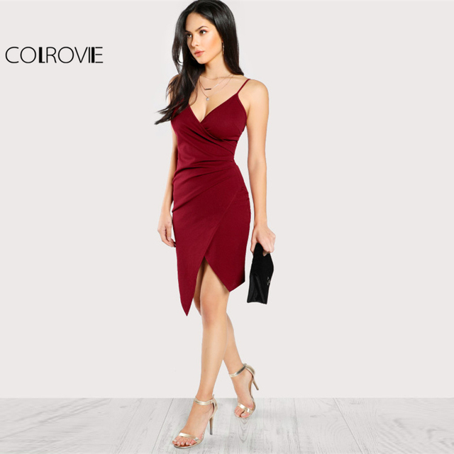 COLROVIE Ruched Overlap Form Fitting Cami Dress 2017 Burgundy Spaghetti Strap Sleeveless Slip Asymmetrical Party Dress With Zip