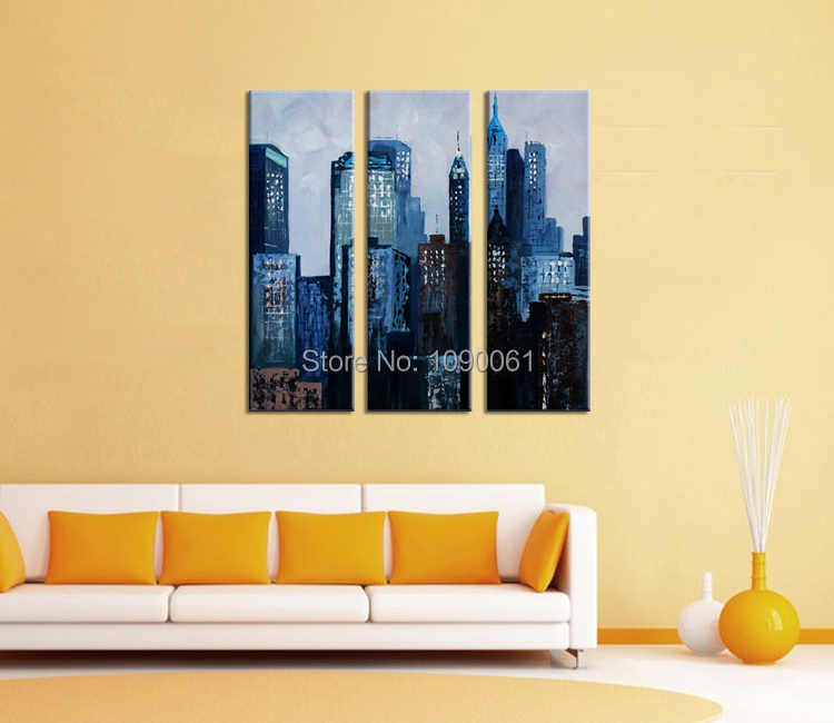 Hand Painted New York Night City Buildings Abstract Landscape Oil ...