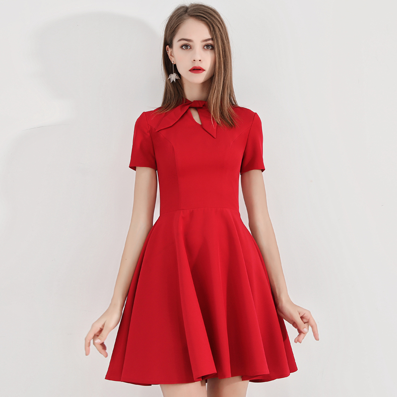 female full dress 2019 new wedding engagement pleated solid zippers above knee mini summer dress short sleeve return dress red