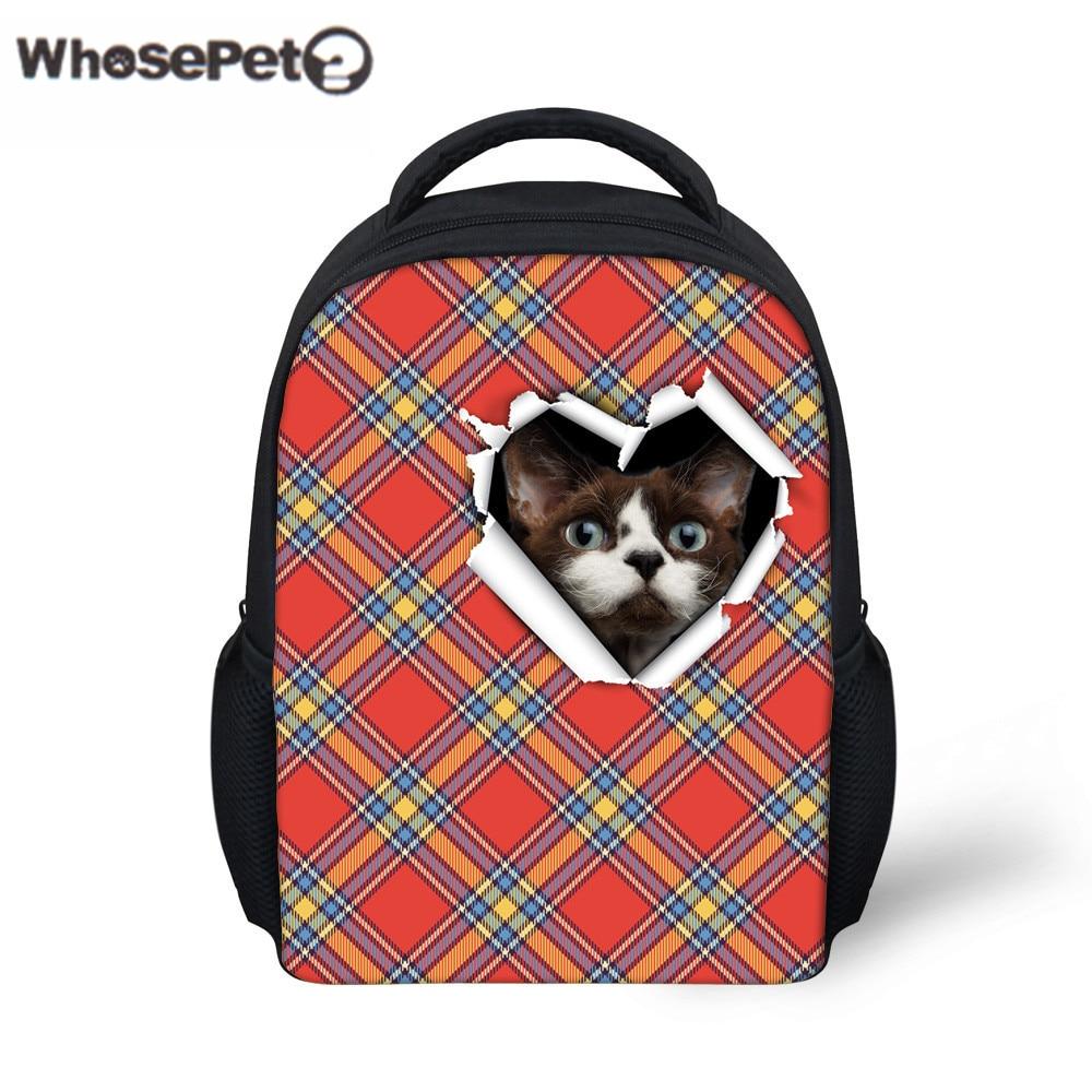 ec64ea80e3 WHOSEPET Kids Preppy Backpacks Fashion Cat Printing School Bags Preschool  Animal Mini Backpack for Girls Boys Leisure Book Bag