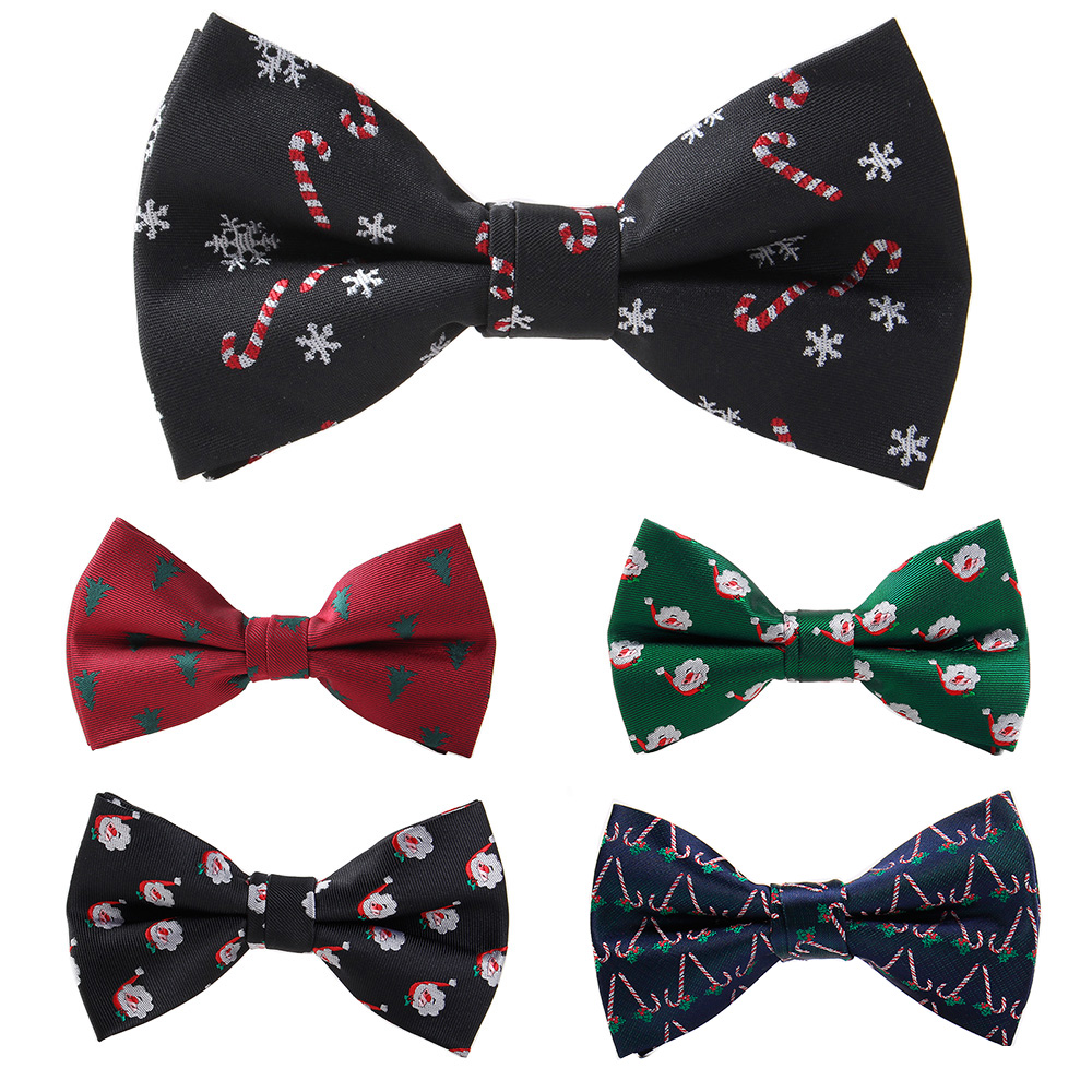 GUSLESON Christmas Bow Ties For Men Snow Man Tree Pattern Festival Theme Bowties Cravat Fashion Casual Bowknot Bowties Men Gifts