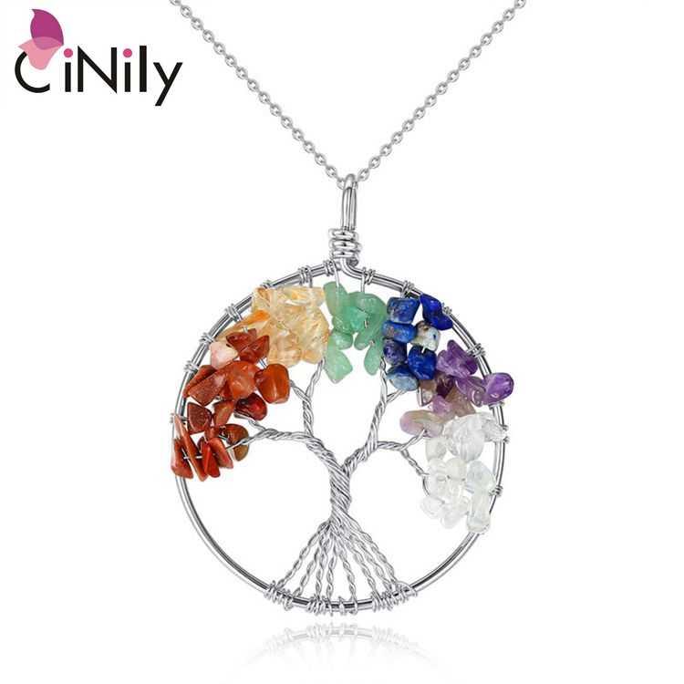 """CiNily สร้าง 7 Chakra หินชุบเงินขายส่ง Tree of Life สำหรับผู้หญิงเครื่องประดับสร้อยคอจี้ 18 1/4 """"- 20 3/8 """"NL138"""