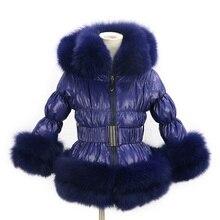 Стиль, зимнее детское пуховое пальто популярная пуховая одежда с отделкой из лисьего меха, разноцветная пуховая куртка