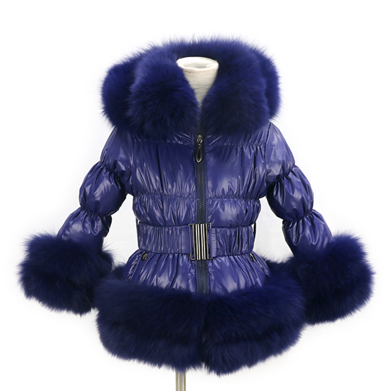 free shipping new style winter child   down     coat   popular   down   wear with fox fur trim mult color puffer jacket