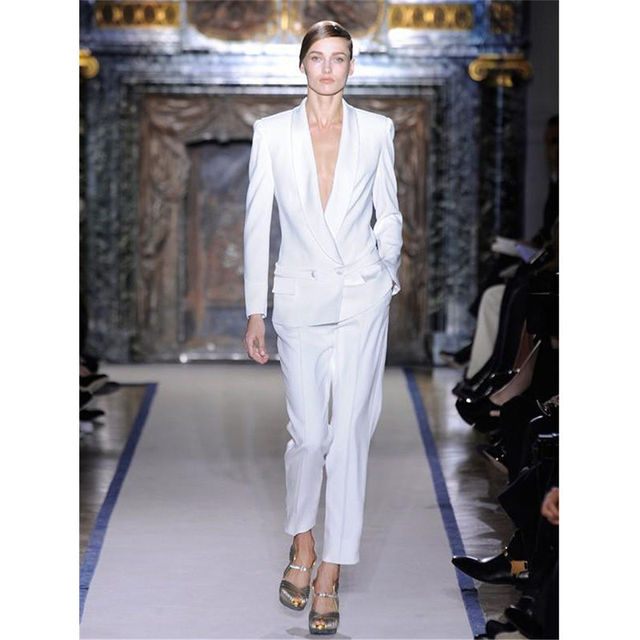 White Womens Business Suits Formal Pants Suits Shawl Lapel Wedding Tuxedo  Double Breasted B71 ed4f4eda5