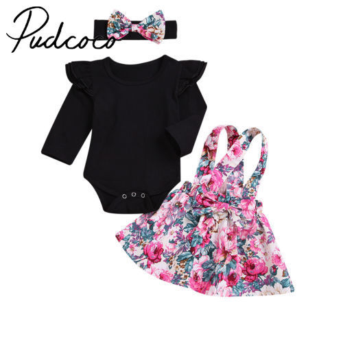 Newborn Infant Baby Girls Fly Sleeve Romper Playsuit+Flower Skirts Dress Outfits