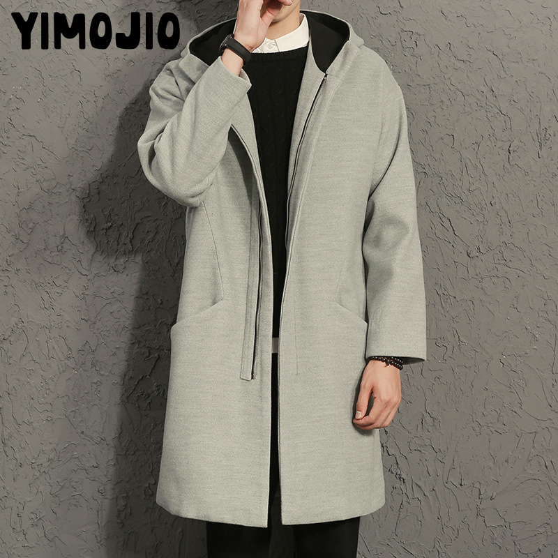 Mens   Trench   Coat 2018 Mens Long Coat Casual Coat Men Solid Simple Male   Trench   Style Outdoor Wind Coat Warm Thick Woolen cloth XL