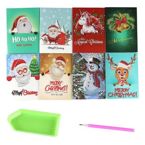 8pcs Christmas Greeting Cards DIY 5D Diamond Painting Gift Party Birthday Invitation Card For Events