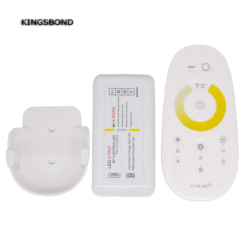 DC12V 24V 3CH RF wireless Mini led CT controller touch remote color ring warm white cool white dimmer ...
