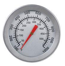 Aço inoxidável churrasco fumante pit bimetálico grill termômetro medidor de temperatura com duplo gage 500 graus convenierernt cozinhar