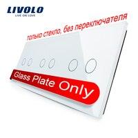 Free Shipping Livolo Luxury White Pearl Crystal Glass 223mm 80mm EU Standard Triple Glass Panel VL