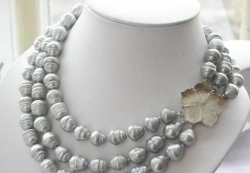 shopping! Hot! triple strands AAA 11-13mm natural south sea grey baroque pearl necklace