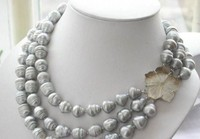 Free shipping shopping! Hot! triple strands AAA 11-13mm natural south sea grey baroque pearl necklace