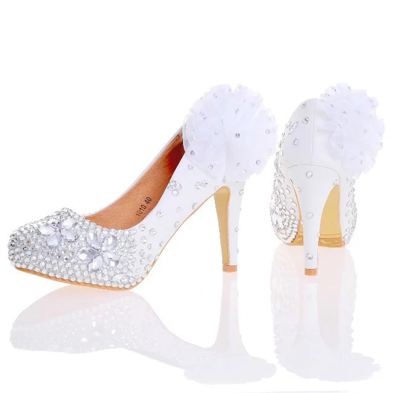 ФОТО White Red Women High Heels Silver Rhinestone Wedding Party Shoes Handmade Bridal Dress Shoes with Appliques Bridesmaid Shoes