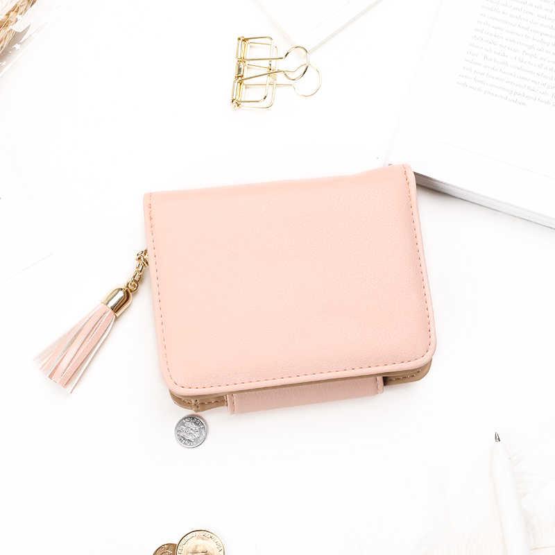 2017 moda borlas estilo bonito das mulheres curto carteira com ferrolho de metal bloqueio feminino bolsa mudança multi titular do cartão meninas embreagem