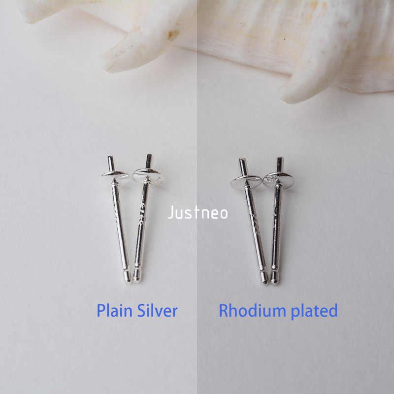 固体 925 スターリングシルバーイヤリングスタッド耳ポスト検索カップ状とパッドを保持するための真珠の宝石ビーズ、 1 ペア