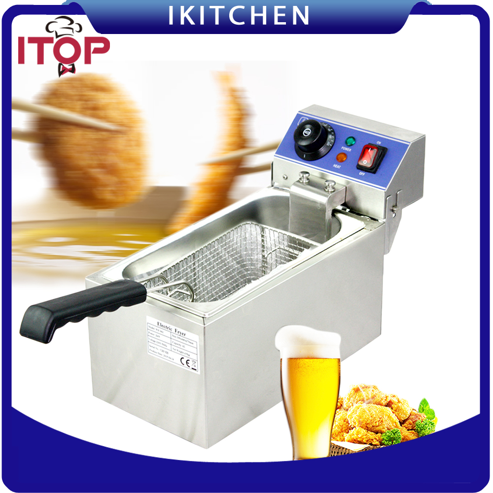 Commercial Fryer Single tanks Fryer 6L Electric French fries machine Fry machine Frying pan 60-200 degree Deep Fryer fry ice pan machine