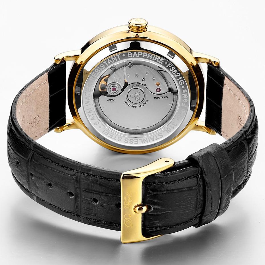드 느낌 movt miyota 9015 남자 자동 기계식 시계 브랜드 럭셔리 사파이어 유리 및 가죽 스트랩 relogio masculino-에서기계식 시계부터 시계 의  그룹 3